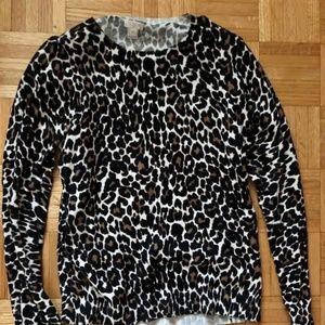 J Crew Leopard Print Pullover Sweater M